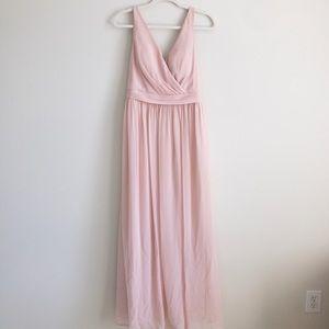 Light pink chiffon vneck formal/bridesmaid dress